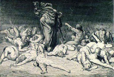 Dante and Virgil among the Gluttons by Gustave Dore 1890